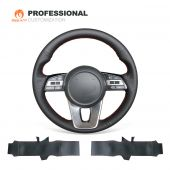 MEWANT Hand-stitched Black Artificial PU Leather Car Steering Wheel Cover Wrap for Kia K5 Optima 2019 / Cee'd Ceed 2019 / Forte 2019