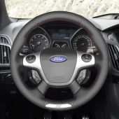For Ford Focus 3 ST 2012 2013 2014,MEWANT Hand-stitched Custom Black Leather Steering Wheel Cover Wrap Protected