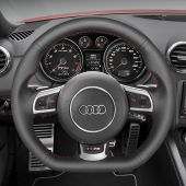 For Audi TT RS 2009 2010 2011 2012 2013 2014 R8 2010-2015 RS 3 2011-2013 RS 6 2008-2010,MEWANT Hand-stitched Black Leather Steering Wheel Cover Wrap Skin