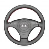 MEWANT Hand Stitch Black Real Genuine Leather Suede Car Steering Wheel Cover for Audi TT (8N) 1998-2001 / A8 S8 (D2) 1998-2002 / S4 (B5) 1997-2001 / S6 (C5) 1999-2001
