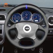 MEWANT Hand Stitch Black PU Leather Real Genuine Leather Car Steering Wheel Cover for Subaru Impreza WRX 2002-2004 / Impreza WRX STI 2004