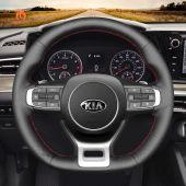 MEWANT Hand Stitch Black PU Leather Real Genuine Leather Car Steering Wheel Cover for Kia Optima / Kia K5 GT GT-Line Sedan 2021-2022