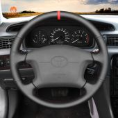 MEWANT Hand Stitch Black PU Leather Real Genuine Leather Car Steering Wheel Cover for Toyota 4Runner Camry Corolla Sienna Tundra