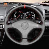 MEWANT Hand Stitch Black PU Leather Real Genuine Leather Car Steering Wheel Cover for Honda Civic 6 / Civic EK CTR EK3 EK4 / Civic Type R Sir EK9 1996–2000