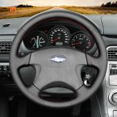 MEWANT Hand Stitch Black PU Leather Real Genuine Leather Car Steering Wheel Cover for Subaru Impreza WRX 1999-2004