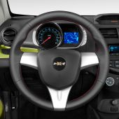 MEWANT Hand Stitch Black PU Leather Real Genuine Leather Car Steering Wheel Cover for ChevroletSpark /SparkEV / forHoldenBarinaSpark