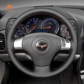 MEWANT Hand Stitch Black PU Leather Real Genuine Leather Car Steering Wheel Cover for Chevrolet Corvette 2006-2011