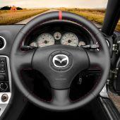 MEWANT Hand Stitch Black PU Leather Real Genuine Leather Car Steering Wheel Cover forMazdaMX-5MX5MiataNB1998-2005/RX-7RX71999-2002
