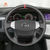 MEWANT Hand Stitch Black PU Leather Real Genuine Leather Car Steering Wheel Cover for Toyota Avalon 2005-2012