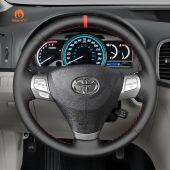 MEWANT Hand Stitch Black PU Leather Real Genuine Leather Car Steering Wheel Cover for Toyota Solara (Camry Solara) Venza Camry Aurion