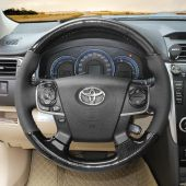 For Toyota Camry 2012 2013 2014,MEWANT Customized DIY Black PU Carbon Fiber Steering Wheel Cover Wrap Skin