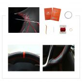 For Buick Lacrosse 2013 2014 2015,MEWANT 3D Design Black Suede with Leather Steering Wheel Cover Wrap
