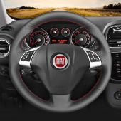 for Fiat Bravo 2007 2008-2015 MEWANT Hand-Stitched Black Genuine Leather Car Steering Wheel Cover