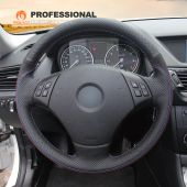 MEWANT Hand Stitch Sewing Black Genuine Leather Suede Car Steering Wheel Cover for BMW 3 Series E90 (Sedan) 2005-2011 / E91 (Touring) 2005-2011 X1 E84 2009-2015