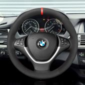 MEWANT Hand Stitch Black Real Genuine Leather PU Leather Suede Car Steering Wheel Cover for BMW X5 E70 2006-2013 X6 E71 2008-2014 / E72 (ActiveHybrid X6) 2009-2010