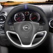 MEWANT Hand Stitch Black Suede Car Steering Wheel Cover for Opel Antara Saturn Vue Chevrolet Captiva Sport Vauxhall Antara
