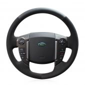 MEWANT Hand Stitch Black Real Genuine Leather PU Leather Black Suede Car Steering Wheel Cover for Land Rover Freelander 2 2013-2015