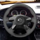 For Nissan Almera N16 Pathfinder Primera Paladin X-Trail Samsung SM3 MEWANT Black Suede Car Steering Wheel Cover