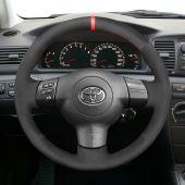 MEWANT Hand Stitch Black Suede Car Steering Wheel Cover for Toyota Corolla 2003-2006 / Caldina 2002-2007 / RAV4 2003-2006 / Wish 2003-2009 / for Scion tC 2004-2010 / xA 2006 / xB 2006