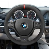 MEWANT Hand Stitch Black PU Leather Real Genuine Leather Suede Car Steering Wheel Cover for BMW M Sport X5 E70 M50d 2006-2013 / X6 E71 2009-2014 / X5 M 2010-2013 / X6 M E71 2009-2014