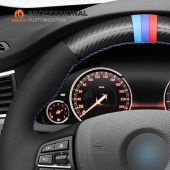 MEWANT Hand Stitch Black Suede Carbon Fiber Car Steering Wheel Cover for BMW 5 Series F10 F11 (Touring) F07 (GT) 6 SeriesF12 F13 F06 7 Series F01 F02