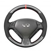 MEWANT Hand Stitch Sewing Black Leather Suede Carbon Fiber Car Steering Wheel Cover for Infiniti G25 G35 G37 2007-2013 EX35 EX37 2008-2013 Q40 Q60 2014 2015 QX50 2014-2018