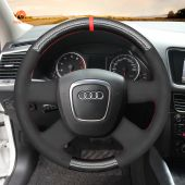 MEWANT Hand Stitch Black PU Leather Real Genuine Leather Suede Carbon Fiber Car Steering Wheel Cover for Audi A3 (8P) Sportback A4 (B8) A4 (B7) A6 (C6)