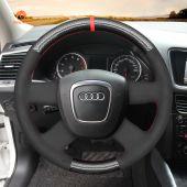 MEWANT Hand Stitch Black Carbon Fiber Suede Car Steering Wheel Cover for Audi A3 (8P) Sportback A4 (B8) A4 (B7) A6 (C6)