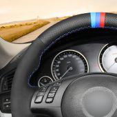 MEWANT Hand Stitch Black Artificial Leather Suede Car Steering Wheel Cover for BMW M Sport E46 330i 330Ci / E39 540i 525i 530i / M3 E46 / M5 E39