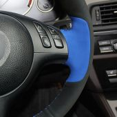 MEWANT Hand Stitch Black Suede Real Genuine Leather Blue Suede Car Steering Wheel Cover for BMW M Sport E46 330i 330Ci / E39 540i 525i 530i / M3 E46 / M5 E39