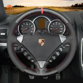 MEWANT Hand Stitch Matte Carbon Fiber with Suede Car Steering Wheel Cover for Porsche Cayenne 2003-2010