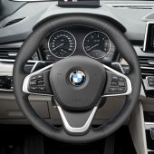 MEWANT Black Genuine Leather Car Steering Wheel Cover for BMW 2 Series F45 (Active Tourer) 2014-2019 / 2 Series F46 (Gran Tourer) 2015-2019/  X1 F48 2015-2019 / X2 F39 2018-2019