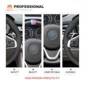 MEWANT Hand Stitch Black Suede Carbon Fiber Car Steering Wheel Cover for BMW  2 Series F45 (Active Tourer) 2014-2021 2 Series F46 (Gran Tourer) 2014-2021 X1 F48 2015-2021 X2 F39 2018-2021