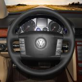 For Volkswagen VW Phaeton 2004 2005 2006 2007 2008 2009 2010,MEWANT DIY Black Leather Steering Wheel Cover Wrap Skin