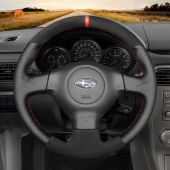 MEWANT Hand Stitch Black Real Genuine Leather Suede Car Steering Wheel Cover for Subaru Forester Impreza WRX (WRX STI) Legacy Outback for Saab 9-2X