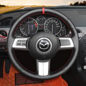 MEWANT Custom Black Suede Genuine Leather Car Steering Wheel Cover Wrap Protect for Mazda MX-5 MX5 RX-8 RX8 2009 2010 2011 2012 2013 CX-7 CX7 2007 2008 2009