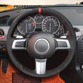MEWANT Hand Stitch Black Real Genuine Leather PU Leather Suede Car Steering Wheel Cover for Mazda MX-5 Miata 2009-2013 / RX-8 2009-2013 / CX-7 2007-2009