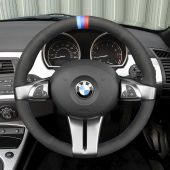 MEWANT Hand Stitch Black PU Lather Real Genuine Leather Suede Car Steering Wheel Cover for BMW Z4 E85 (Roadster) 2003-2008 E86 (Coupe) 2005-2008