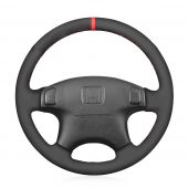 MEWANT Hand Stitch Black Genuine Leather Suede Car Steering Wheel Cover for Acura CL 1998-2003 MDX 2001-2002 Honda Accord 6 1998- 2002 Odyssey 1998-2001