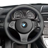 MEWANT Hand Sewing Black Genuine Leather Car Steering Wheel Cover for BMW E83 X3 M Sport 2005 2006 2007 2008 2009 2010