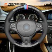 MEWANT Carbon Fiber Genuine Leather Suede Car Steering Wheel Cover for BMW M Sport M3 E90 E91 E92 E93 E87 E81 E82 E88 X1 E84
