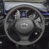 For Toyota C-HR CHR 2016 2017 2018 2019,MEWANT Handsewing Customized Black Leather Steering Wheel Cover Wrap