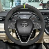 For Toyota Camry 2018-2019 Avalon 2019 Corolla 2019-2020 RAV4 2019 MEWANT Black Suede Hand Sew Car Steering Wheel Cover