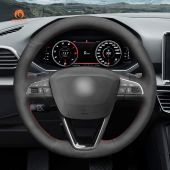 MEWANT Hand Stitch Black Suede Car Steering Wheel Cover for Seat Leon 2013-2020 Toledo 2014-2015 Arona 2017-2020