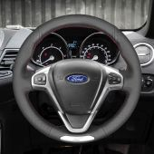 For Ford Fiesta ST 2013 2014 2015 2016 2017 2018, MEWANT Hand-stitched Black Leather Steering Wheel Cover Wrap Protect