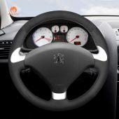 MEWANT Hand Stitch Black Suede Car Steering Wheel Cover for Peugeot 307 CC 2004 2005 2006 2007