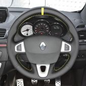 MEWANT Custom Hand-stitched Black Suede with Real Genuine Leather Car Steering Wheel Cover for Renault Megane 3 (Coupe) RS 2010 2011 2012 2013 2014 2015 2016