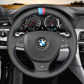 MEWANT Hand-stitched Black Real Genuine Leather Suede Car Steering Wheel Cover Wrap Protected for BMW M Sport F10 F11 F07 M5 F10 2011-2013 F12 F13 F06 / F01 F02