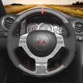 MEWANT Hand Stitch Black Leather Suede Carbon Fiber Car Steering Wheel Cover for Nissan GTR GT-R (Nismo) 2008-2016