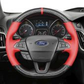 MEWANT Hand Stitch Sewing Black Leather Suede Carbon Fiber Car Steering Wheel Cover for Ford Focus (RS | ST | ST-Line) 2015-2018 / Kuga (ST-Line) 2019 / Ecosport (ST-Line) 2017-2020